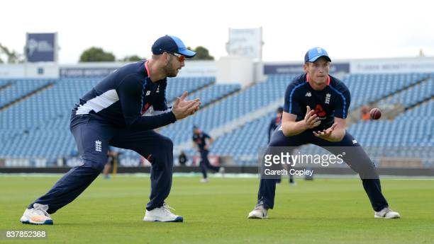 Mark Stoneman and Tom Westley of England take part in a fielding drill during a nets session at Headingley on August 23 2017 in Leeds England