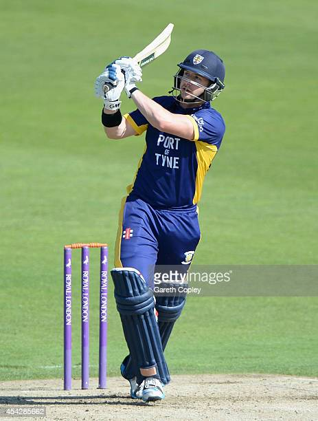Mark Stoneman of Durham bats during the Royal London OneDay Cup 2014 Quarter Final between Yorkshire and Durham at Headingley on August 28 2014 in...