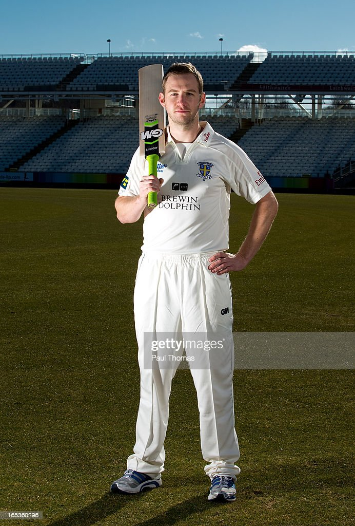Mark Stoneman of Durham CCC poses for a photograph during a pre-season photocall at The Riverside on April 3, 2013 in Chester-le-Street, England.