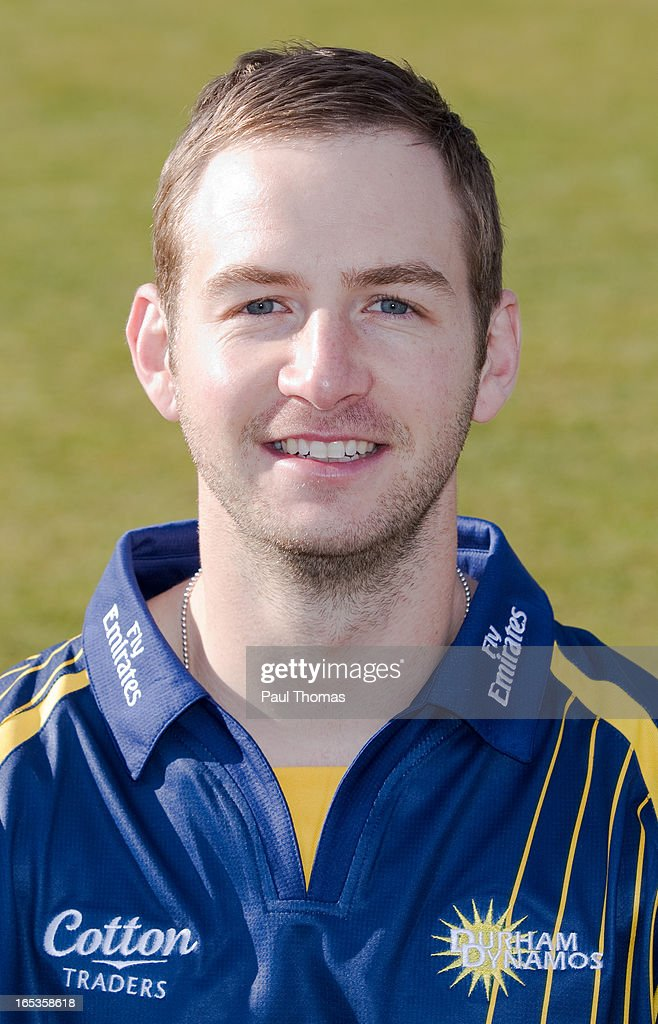 Mark Stoneman of Durham CCC wears the Yorkshire Bank 40 kit during a pre-season photocall at The Riverside on April 3, 2013 in Chester-le-Street, England.