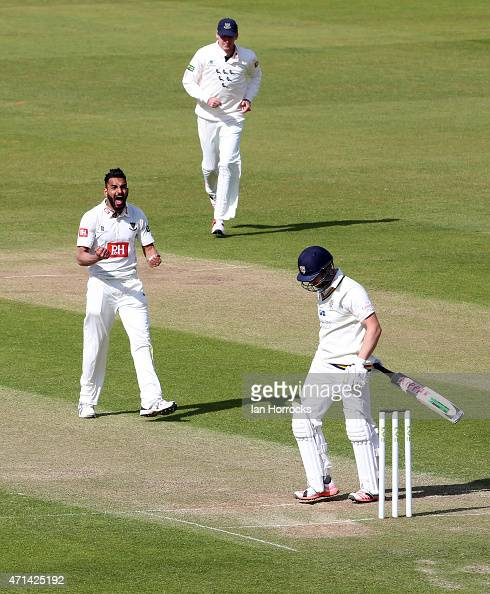 Mark Stoneman of Durham is trapped lbw by Ajmal Shahzad of Sussex of Sussex during day 3 of the LV County Championship match between Durham CCC and...