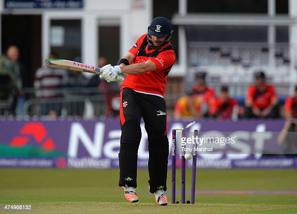 Mark Stoneman of Durham Jets is bowled out by Rob Taylor of Leicestershire Foxes during the NatWest T20 Blast match between Leicestershire Foxes and...