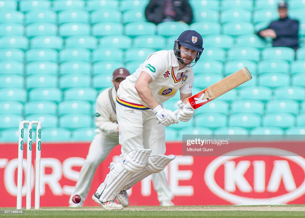 Mark Stoneman of Durham plays a shot during the Specsavers County Championship Division One match between Surrey and Durham at the Kia Oval Cricket Ground, on May 02, 2016 in London, England.