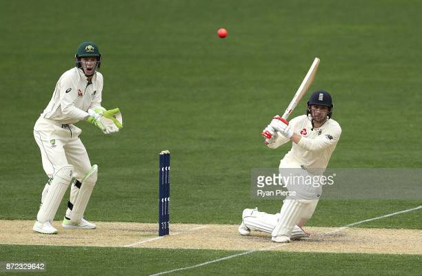 Mark Stoneman of England bats as Tim Paine of CA XI keeps wicket during day three of the four day tour match between Cricket Australia XI and England...
