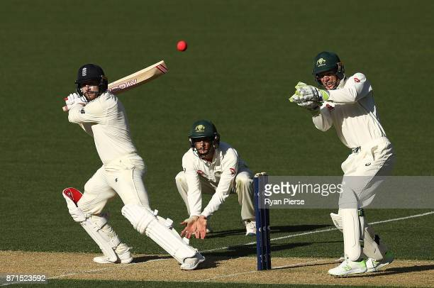 Mark Stoneman of England bats as Tim Paine of CA XI keeps wicket during the four day tour match between Cricket Australia XI and England at Adelaide...
