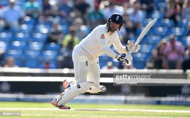 Mark Stoneman of England bats during day three of the 2nd Investec Test between England and the West Indies at Headingley on August 27 2017 in Leeds...