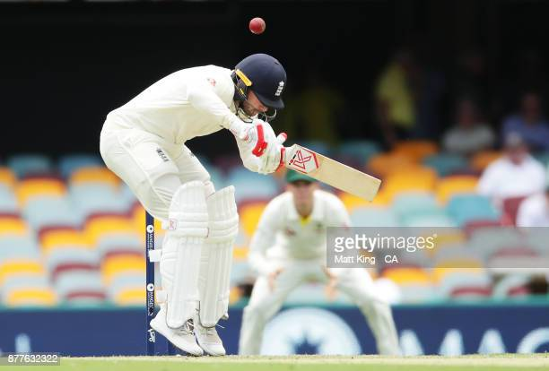 Mark Stoneman of England ducks under a bouncer during day one of the First Test Match of the 2017/18 Ashes Series between Australia and England at...