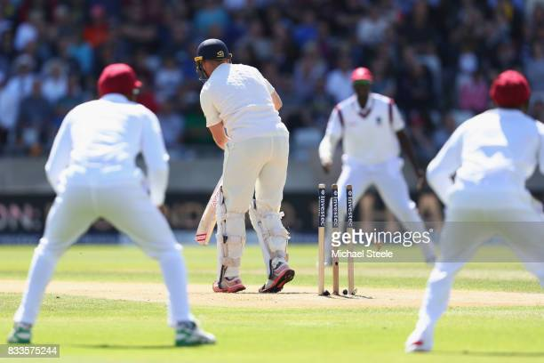 Mark Stoneman of England is bowled by Kemar Roach of West Indies during day one of the 1st Investec Test match between England and West Indies at...