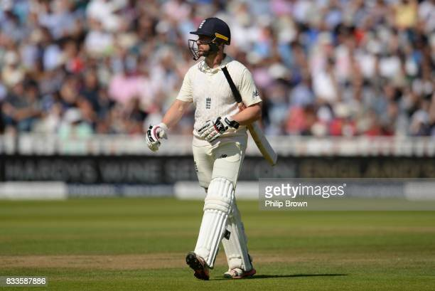 Mark Stoneman of England leaves the field after being dismissed during the first day of the 1st Investec Test match between England and the West...