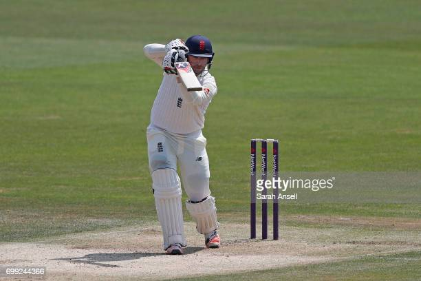 Mark Stoneman of England Lions bats during day 1 of the match between England Lions and South Africa A at The Spitfire Ground on June 21 2017 in...