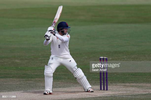 Mark Stoneman of England Lions hits a boundary during day 3 of the match between England Lions and South Africa A at The Spitfire Ground on June 23...