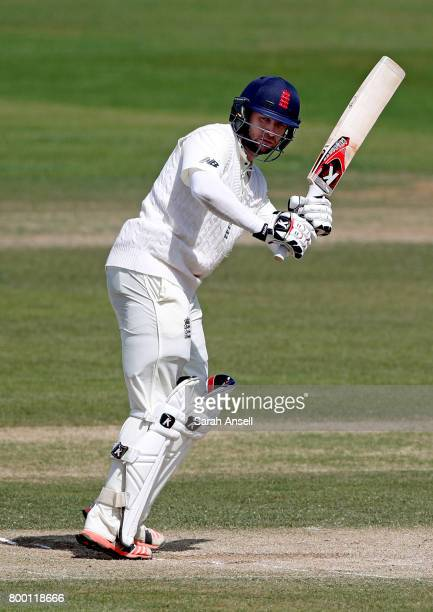 Mark Stoneman of England Lions hits out during day 3 of the match between England Lions and South Africa A at The Spitfire Ground on June 23 2017 in...
