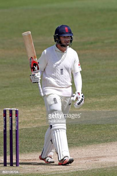 Mark Stoneman of England Lions raises his bat after reaching a half century during day 3 of the match between England Lions and South Africa A at The...