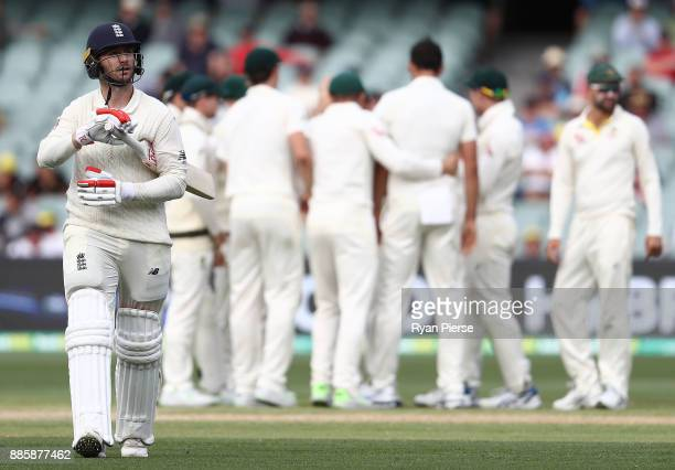 Mark Stoneman of England looks dejected after being dismissed by Mitchell Starc of Australia during day four of the Second Test match during the...