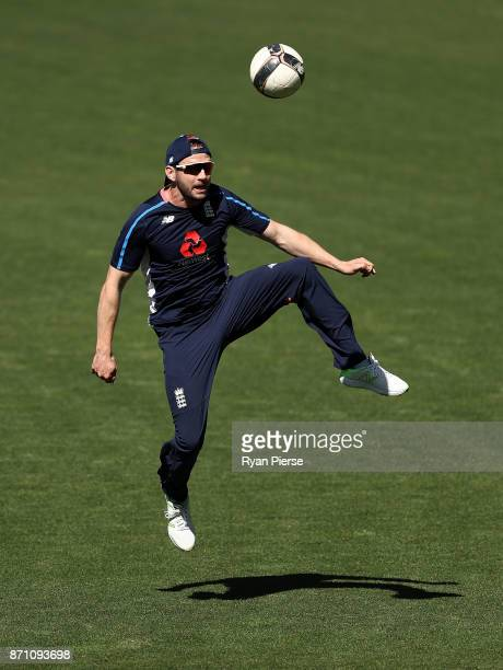 Mark Stoneman of England plays football during an England Ashes series nets session at Adelaide Oval on November 7 2017 in Adelaide Australia