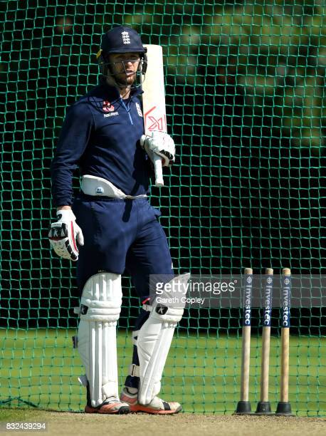 Mark Stoneman of England waits to bat during a nets session at Edgbaston on August 16 2017 in Birmingham England