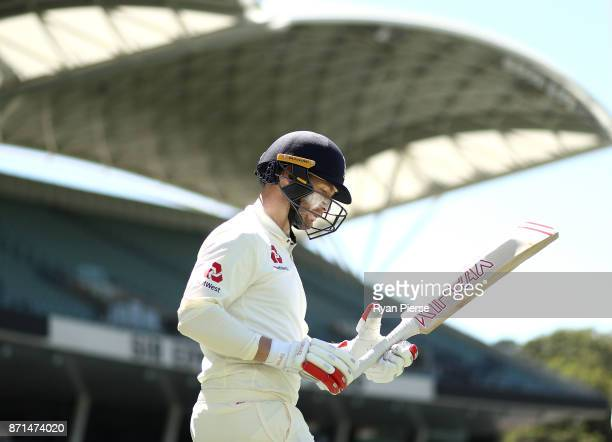 Mark Stoneman of England walks out to bat during the four day tour match between Cricket Australia XI and England at Adelaide Oval on November 8 2017...