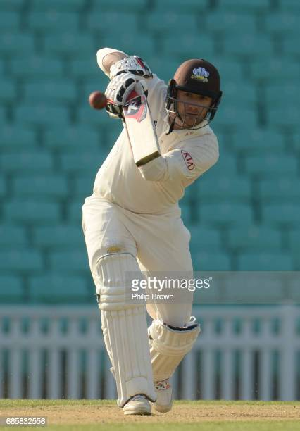 Mark Stoneman of Surrey bats on his way to 165 runs during day one of the Specsavers County Championship Division One cricket match between Surrey...