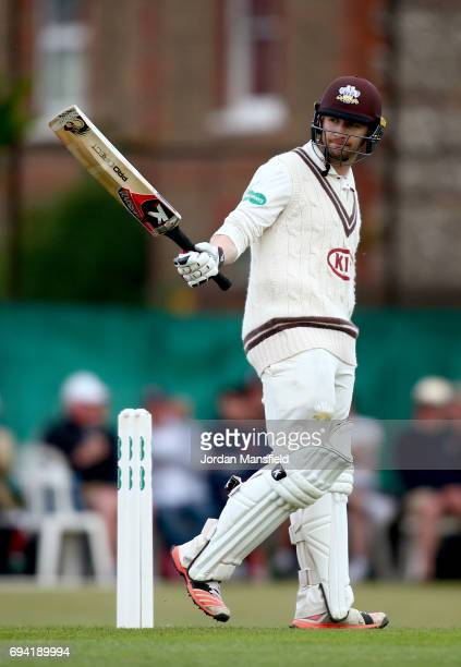 Mark Stoneman of Surrey celebrates his 150 during the Specsavers County Championship Division One match between Surrey and Essex at Guildford Cricket...