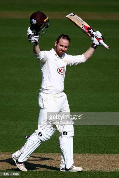 Mark Stoneman of Surrey celebrates his century during the Specsavers County Championship Division One match between Surrey and Warwickshire at The...