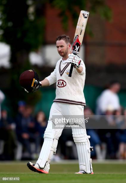 Mark Stoneman of Surrey celebrates his century during the Specsavers County Championship Division One match between Surrey and Essex at Guildford...