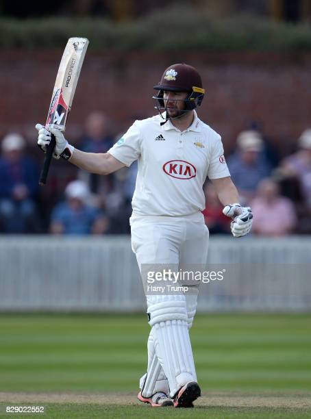 Mark Stoneman of Surrey celebrates his half century during Day Four of the Specsavers County Championship Division One match between Somerset and...