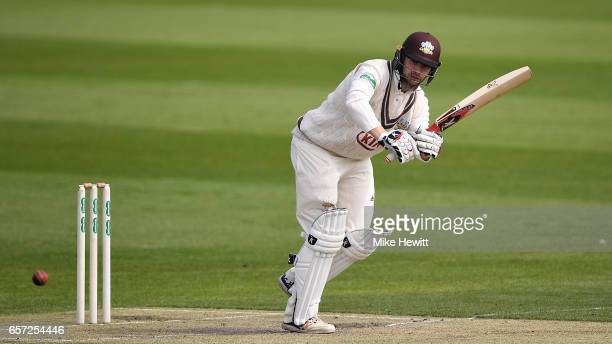 Mark Stoneman of Surrey in action during a friendly match between Sussex and Surrey at The 1st Central County Ground on March 24 2017 in Hove England