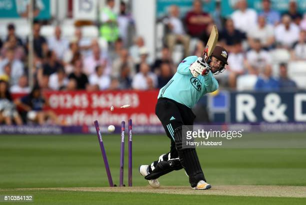 Mark Stoneman of Surrey is bowled by Paul Walter of Essex during the Natwest T20 Blast match between Essex and Surrey at Cloudfm County Ground on...