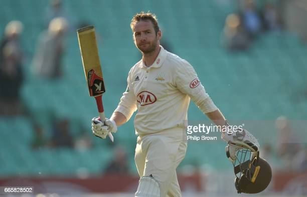 Mark Stoneman of Surrey leaves the field after being dismissed for 165 runs during day one of the Specsavers County Championship Division One cricket...