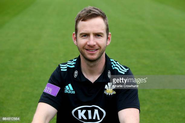 Mark Stoneman poses in the Royal London OneDay Cup kit during the Surrey CCC Photocall at The Kia Oval on April 4 2017 in London England