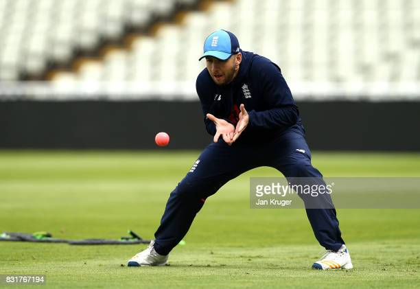 Mark Stoneman takes part in a fielding drill during a nets session at Edgbaston on August 15 2017 in Birmingham England