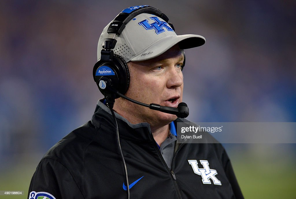 <a gi-track='captionPersonalityLinkClicked' href=/galleries/search?phrase=Mark+Stoops&family=editorial&specificpeople=4957711 ng-click='$event.stopPropagation()'>Mark Stoops</a> of the Kentucky Wildcats talks into the headset during the game against the Missouri Tigers at Commonwealth Stadium on September 26, 2015 in Lexington, Kentucky.