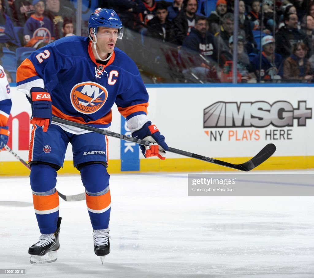 Mark Streit #2 of Team Blue skates during a scrimmage match between players of the New York Islanders and Bridgeport Sound Tigers on January 16, 2013 at Nassau Veterans Memorial Coliseum in Uniondale, New York.