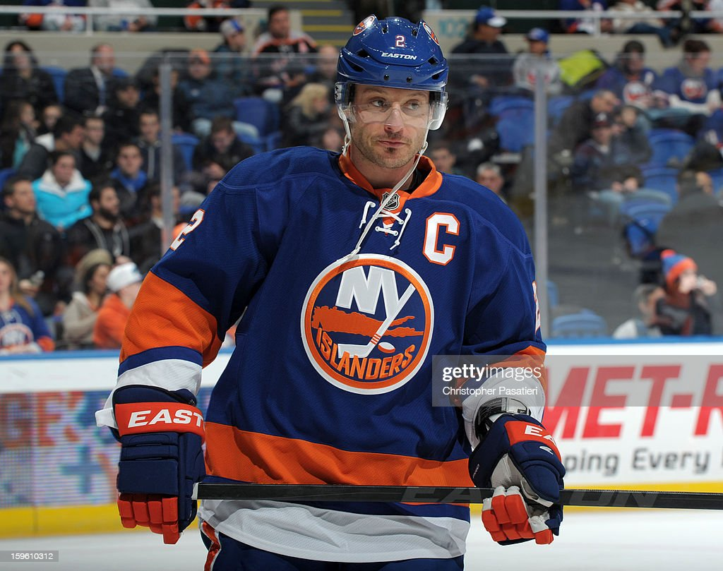 Mark Streit #2 of Team Blue skates prior to a scrimmage match between players of the New York Islanders and Bridgeport Sound Tigers on January 16, 2013 at Nassau Veterans Memorial Coliseum in Uniondale, New York.