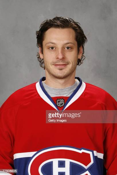 Mark Streit of the Montreal Canadiens poses for his 2007 NHL headshot at photo day in Montreal Quebec Canada