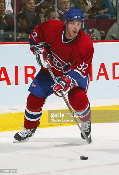 Mark Streit of the Montreal Canadiens skates during the game against the Boston Bruins during a preseason game on September 27 2005 at the Bell...