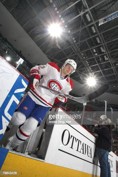Mark Streit of the Montreal Canadiens steps onto the ice during player introductions prior to a game against the Ottawa Senators at Scotiabank Place...