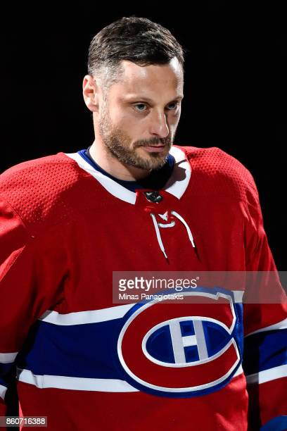 Mark Streit of the Montreal Canadiens takes to the ice during the pre game ceremony prior to the NHL game against the Chicago Blackhawks at the Bell...