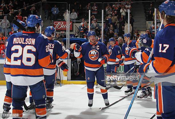 Mark Streit of the New York Islanders is named one of the stars of the game following a 43 victory over the Montreal Canadiens at the Nassau Veterans...