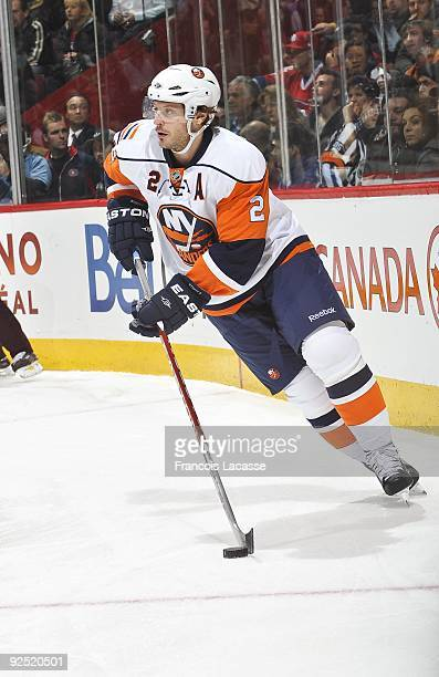 Mark Streit of the New York Islanders looks for an opening during the NHL game against the New York Islanders on October 26 2009 at the Bell Center...