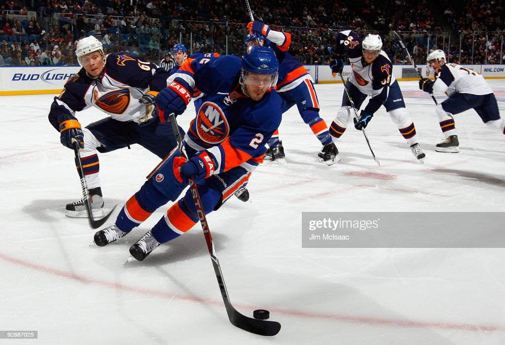 Mark Streit of the New York Islanders skates against the Atlana Thrashers on November 7 2009 at Nassau Coliseum in Uniondale New York