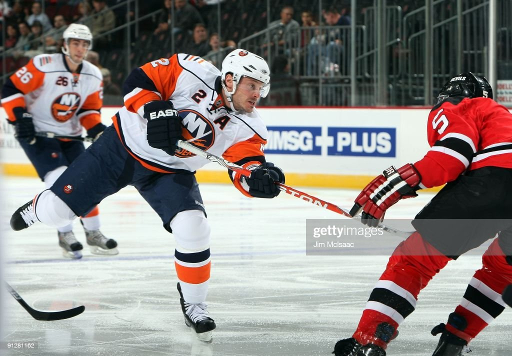 Mark Streit of the New York Islanders skates against the New Jersey Devils during their preseason game at the Prudential Center on September 29 2009...