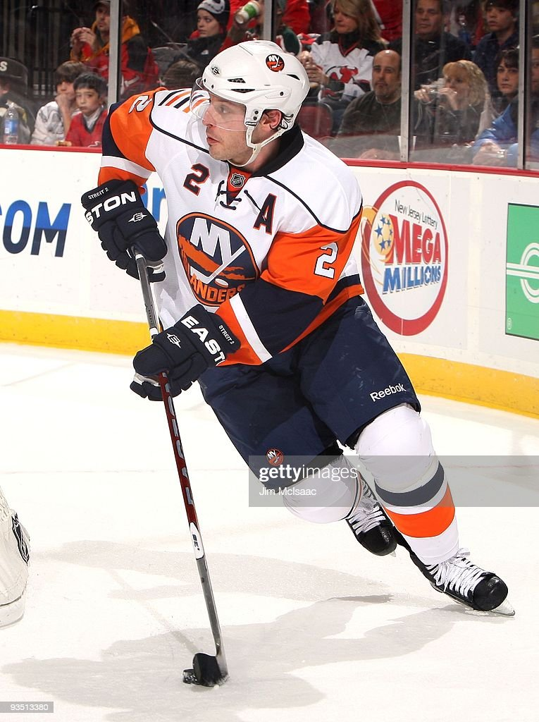 Mark Streit of the New York Islanders skates against the New Jersey Devils at the Prudential Center on November 28 2009 in Newark New Jersey