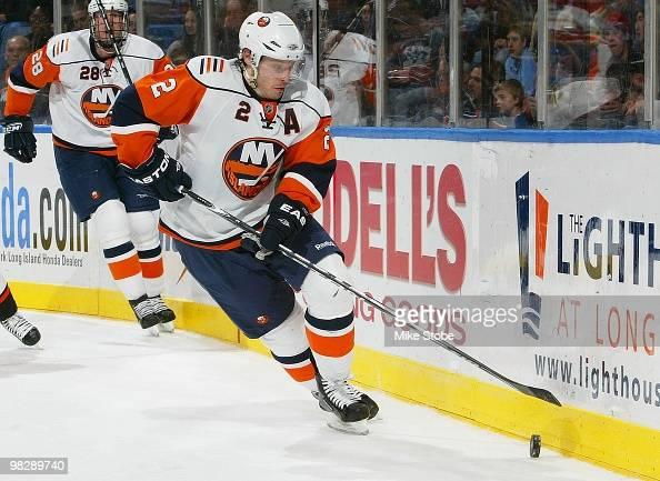 Mark Streit of the New York Islanders skates against the Philadelphia Flyers on April 1 2010 at Nassau Coliseum in Uniondale New York Islanders...