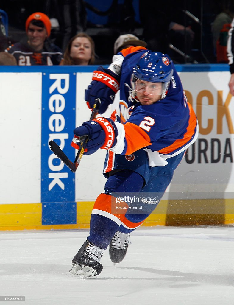 <a gi-track='captionPersonalityLinkClicked' href=/galleries/search?phrase=Mark+Streit&family=editorial&specificpeople=636976 ng-click='$event.stopPropagation()'>Mark Streit</a> #2 of the New York Islanders skates against the Pittsburgh Penguins at the Nassau Veterans Memorial Coliseum on February 5, 2013 in Uniondale, New York.
