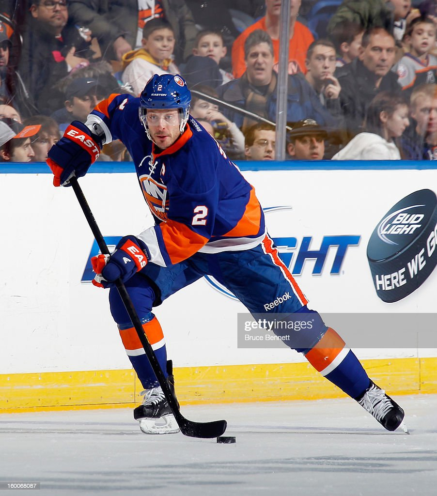 Mark Streit #2 of the New York Islanders skates against the Tampa Bay Lightning at the Nassau Veterans Memorial Coliseum on January 21, 2013 in Uniondale, New York.