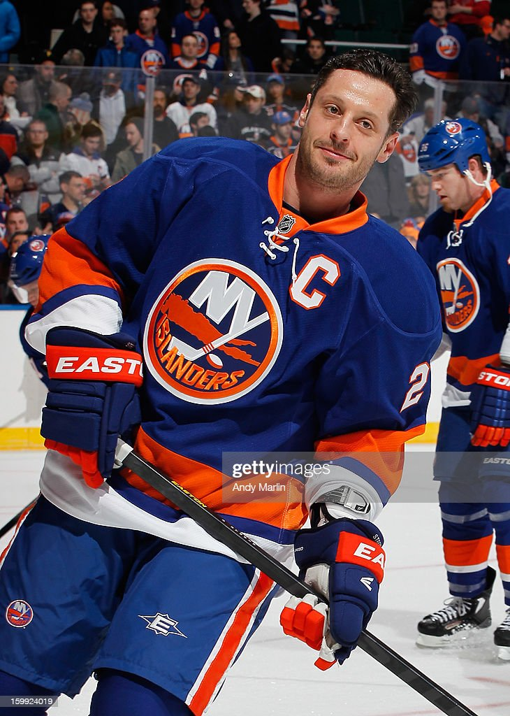 Mark Streit of the New York Islanders skates during warmups prior to the Islanders home opener against the New Jersey Devils at the Nassau Coliseum...