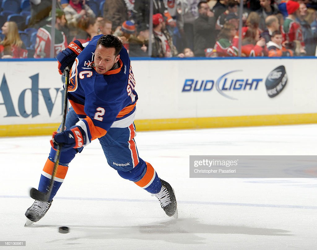 Mark Streit #2 of the New York Islanders skates prior to the game against the New Jersey Devils on February 16, 2013 at Nassau Veterans Memorial Coliseum in Uniondale, New York.