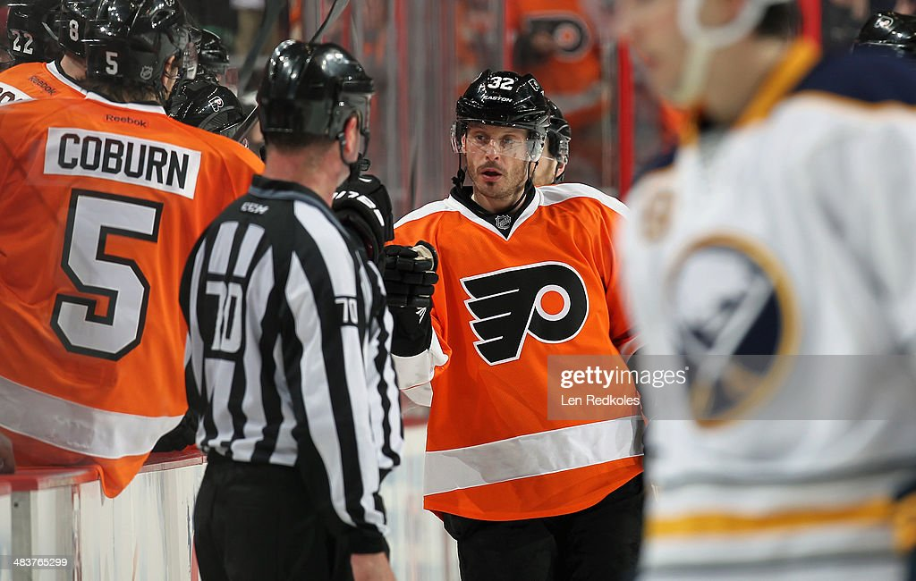 Mark Streit #32 of the Philadelphia Flyers celebrates Brayden Schenn's (not pictured) second period goal against the Buffalo Sabres on April 6, 2014 at the Wells Fargo Center in Philadelphia, Pennsylvania.