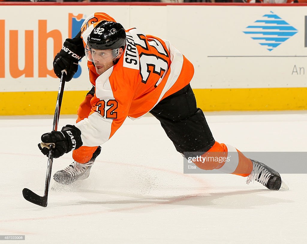 Mark Streit of the Philadelphia Flyers follows through on his goal in the second period against the Anaheim Ducks on October 14 2014 at the Wells...